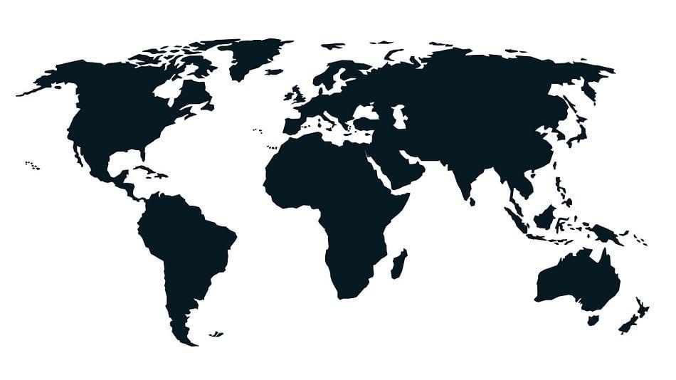 Wereldkaart - Puur Zwart