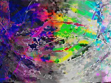 Modern, Abstract Digitaal Kunstwerk in Grijs en Regenboog kleuren van Art By Dominic