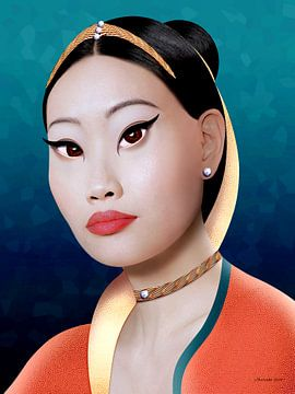 Asiatischer Reichtum (Gold) von Ton van Hummel (Alias HUVANTO)