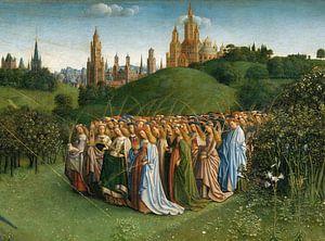 Jan van Eyck, Het Lam Gods, detail met kerken en maagden, 1432