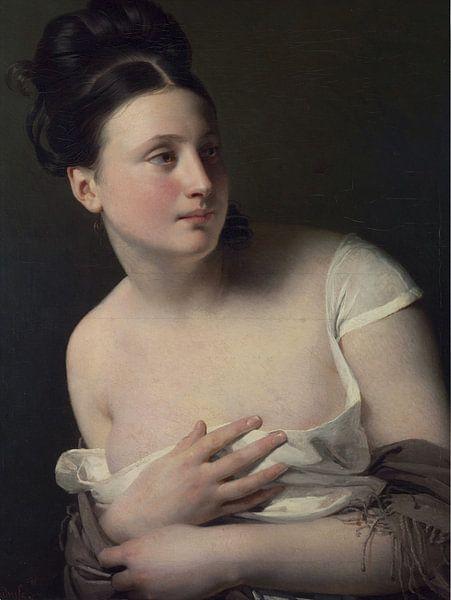 Junges Mädchen wird überrascht und bedeckt ihre Brüste, Claude-Marie Dubufe von Atelier Liesjes