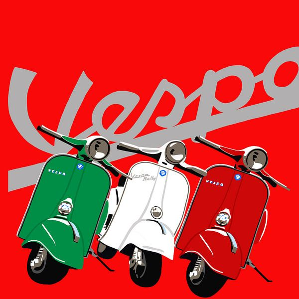 Vespa's op rood van Jole Art (Annejole Jacobs - de Jongh)