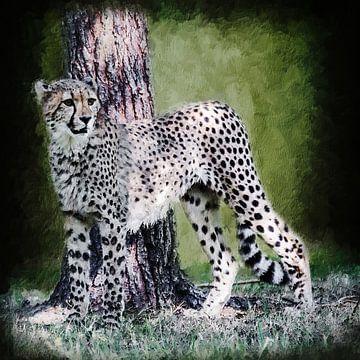 Gepard vor einem Baum (Gemälde) von Art by Jeronimo