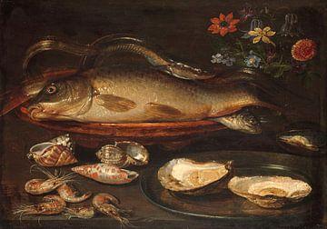 Stilleven met vissen, oesters en garnalen, Clara Peeters van