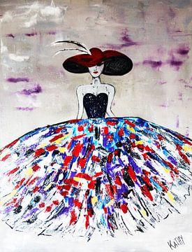 """Moderne vrouw """"Hat"""" van Kathleen Artist Fine Art"""