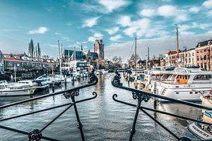 Stadsgezicht op Dordrecht, nieuwe haven, houttuinen
