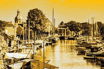 Hafen von Dordrecht Niederlande Gold von Hendrik-Jan Kornelis
