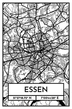 Essen – City Map Design Stadtplan Karte (Retro) von ViaMapia