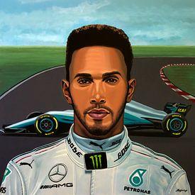 Lewis Hamilton Painting von Paul Meijering