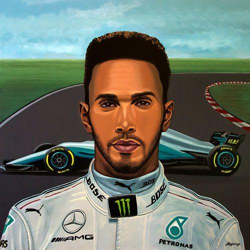 Lewis Hamilton Schilderij van Paul Meijering