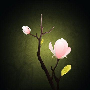 Gemalte Orchidee auf einem Zweig von Diana Bodnarenco