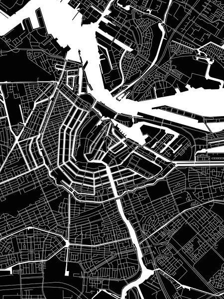 Amsterdam | Stadskaart | Zwartwit Modern van Wereldkaarten.Shop