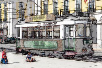 Een historische tram rijdt door de oude binnenstad van Lissabon van Berthold Werner