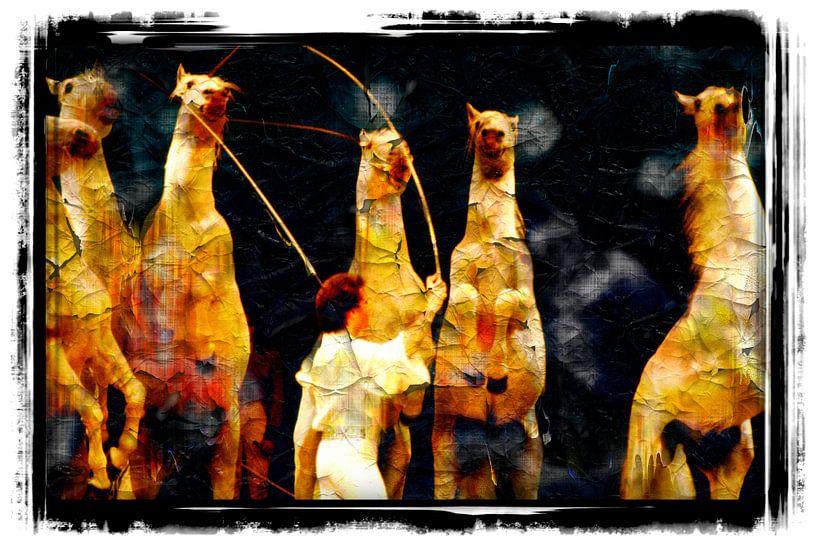 Pferde und Dompteur von Leopold Brix