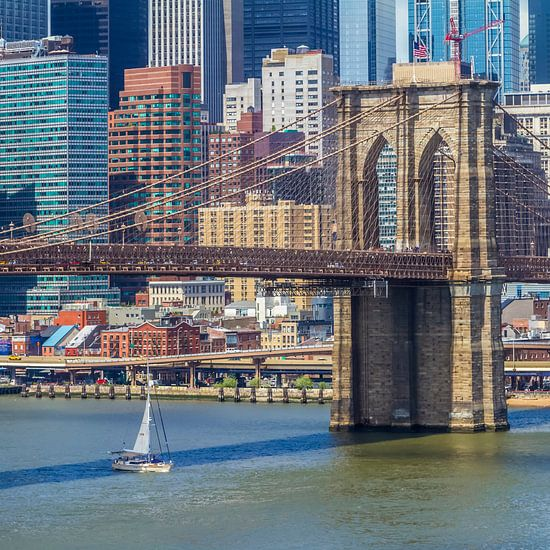 NEW YORK CITY Brooklyn Bridge En de Manhattan Skyline van Melanie Viola