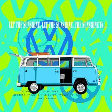Blauwe VW-bus  flowerpower van