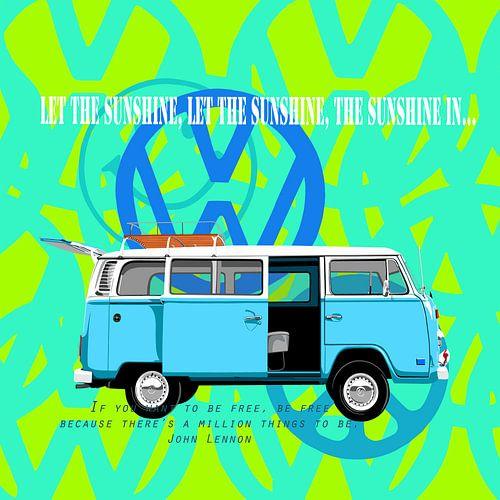 Blauwe VW-bus  flowerpower van Jole Art (Annejole Jacobs - de Jongh)