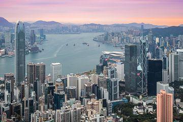 Lever du soleil à Hong Kong sur Marcel Samson