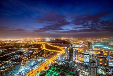 Zonsopgang gezien vanaf Burj Khalifa van Rene Siebring