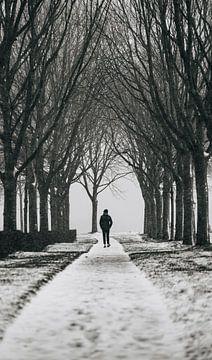 Eenzame wandelaar op de veste van Veere (zwart/wit) van Percy's fotografie