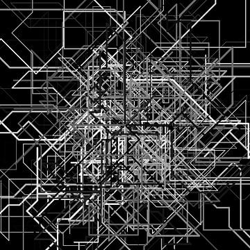 Abstracte lijn 2 zwart-wit netwerk van Jörg Hausmann
