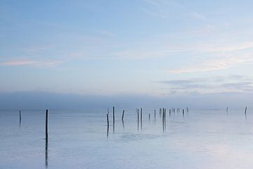Zonsopgang koude ochtend boven het water von
