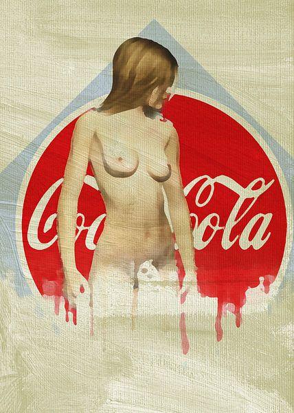 Erotisch naakt - naakte vrouw tegen het iconische Coca-Cola-logo van Jan Keteleer