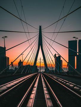 Jeu de lignes : le pont Erasmus à Rotterdam sur Arisca van 't Hof