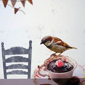 Collage Kunst Print - Vogel vrienden feestje van Angela Peters