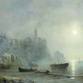 Digitaal gerestaureerd. Gezicht op een rotsachtige kust bij maanlicht van Théodore Gudin. Digitaal  von Lars van de Goor