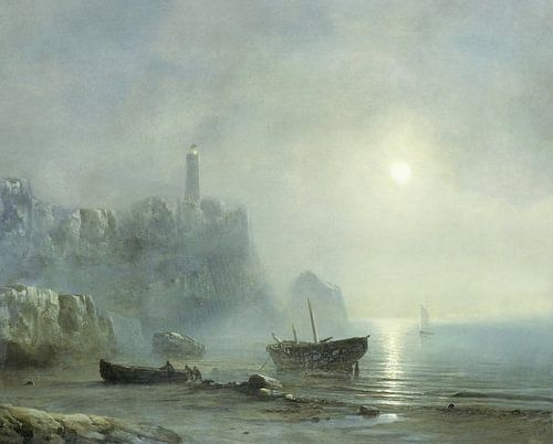 Digitaal gerestaureerd. Gezicht op een rotsachtige kust bij maanlicht van Théodore Gudin. Digitaal  van