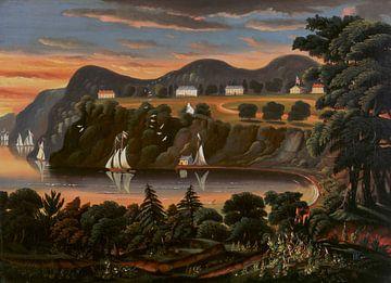 Thomas Chambers-Uitzicht op de rivier de Hudson op West Point