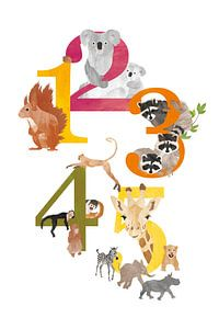 Educatieve cijferposter dieren van