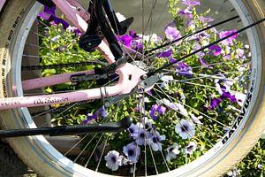 Fietswiel met bloemen van
