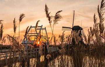 Sonnenuntergang Kinderdijk von Mark den Boer