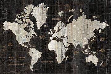 Oude wereldkaart zwart, Wild Apple Portfolio van Wild Apple