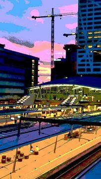 Station Utrecht vanaf de Moreelsebrug van Marijke Mulder