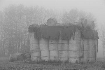 Heuhaufen in schwarz-weiß von Wilma Overwijn