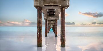 Bruecke am Strand auf Barbados in der Karibik zum Sonnenuntergang. von Voss Fine Art Fotografie
