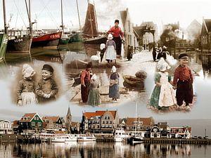 Collage oud en nieuw Volendam van