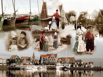 Collage oud en nieuw Volendam van Dutch Art