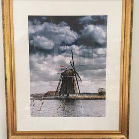 Kundenfoto: Mühle auf dem Rottemeren mit der Niederländischen Flagge von Ricardo Bouman | Fotografie