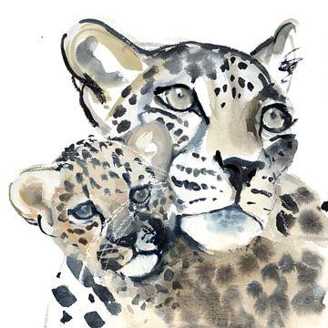 """Twee luipaarden """"Moeder en kind"""" van Mark Adlington"""