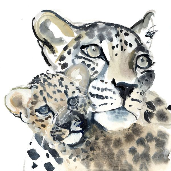 """Zwei Leoparden """"Mutter und Kind"""" von Mark Adlington"""