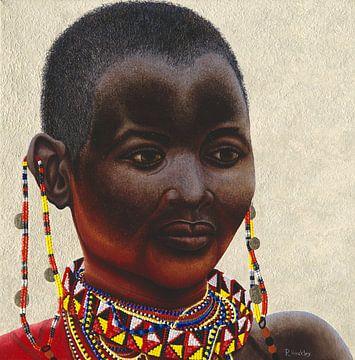 Samburu vrouw II schilderij van Russell Hinckley