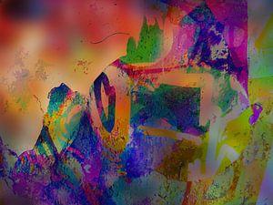 Modern, Abstract Digitaal Kunstwerk in Oranje, Roze, Paars, Groen
