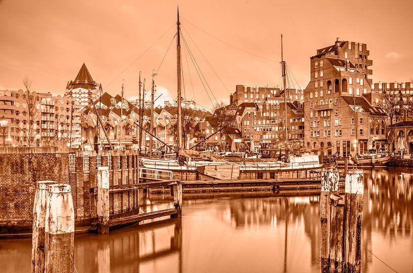 Rotterdam Oude Haven - monochroom van Frans Blok