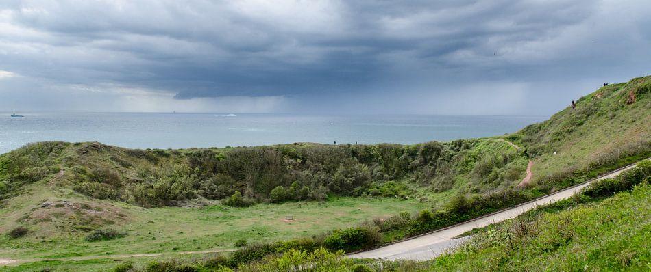 Regenbui op komst Helgoland, Duitsland