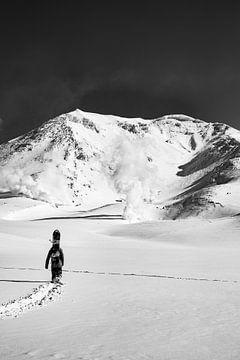Ascension du mont Asahidake, Japon 2017. Photographie en noir et blanc sur