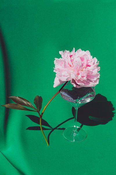Pioen op Glas van Emilia Aivazian Fotografie